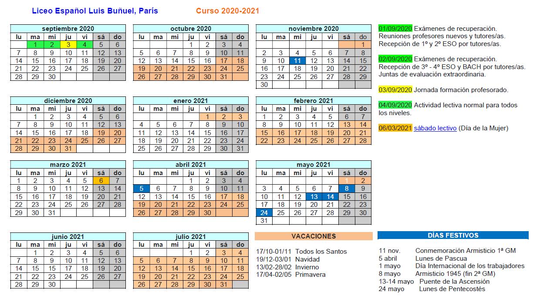Calendario escolar liceo curso 2020-2021
